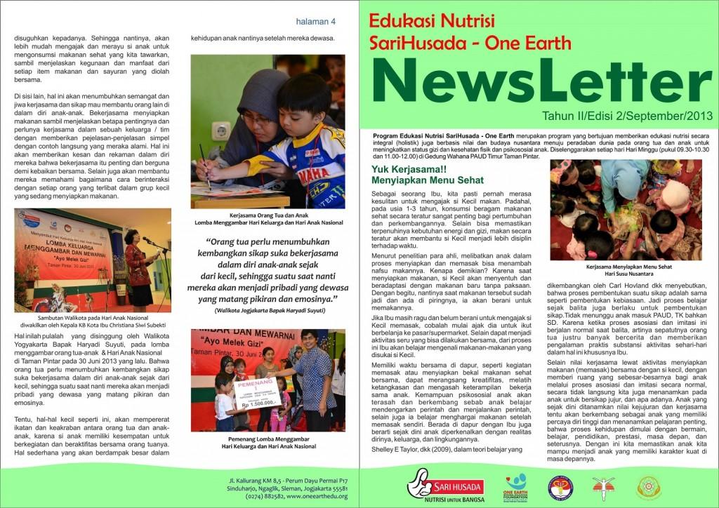 newsletter edukasi nutrisi sarihusada one earth edisi 2 one earth integral education foundation. Black Bedroom Furniture Sets. Home Design Ideas
